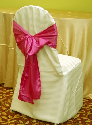 Ivory Stripe Polyester Banquet